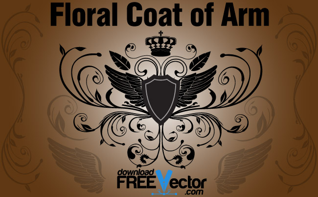 free vector Floral Coat of Arm