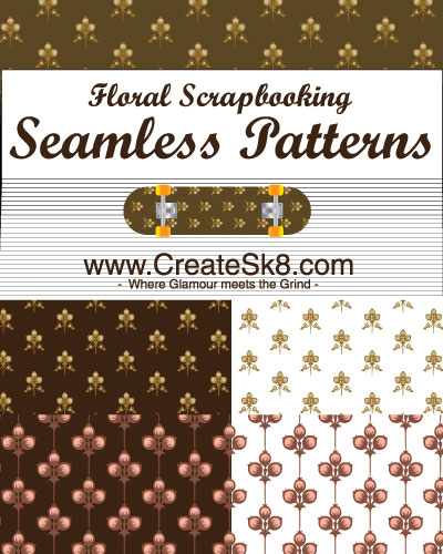 free vector Floral Scrapbooking Seamless Patterns