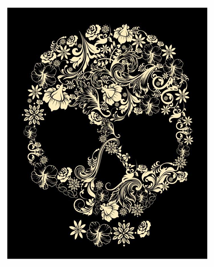 Floral skull Free Vector 4Vector