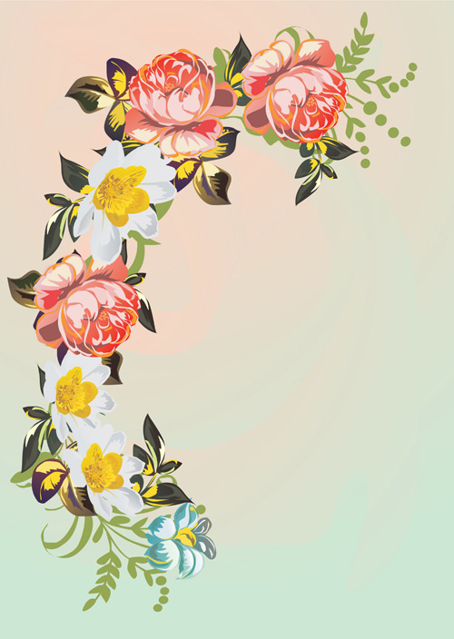 free vector Flower corners pattern vector