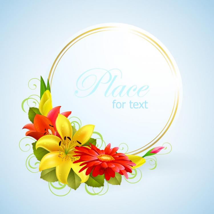 Flower greeting cards vector free