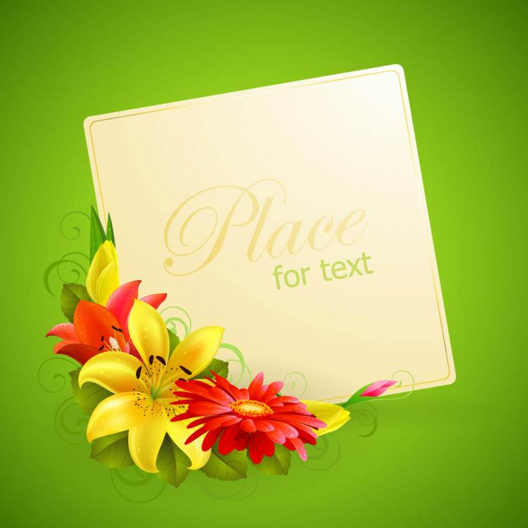 free vector Flower greeting cards 02 vector