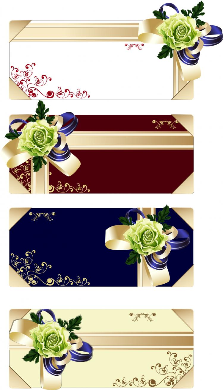 free vector Flower ribbon gift card vector