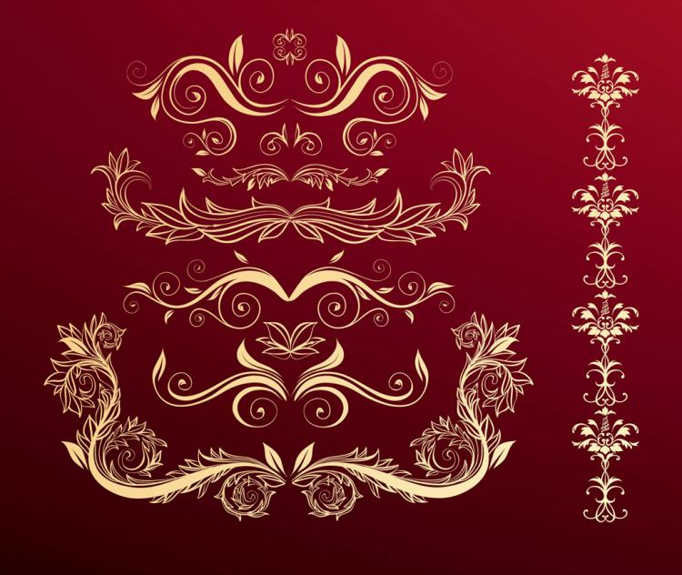 free vector Flower Scrolls Red