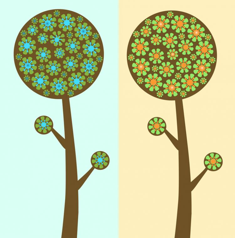 free vector Flower Trees