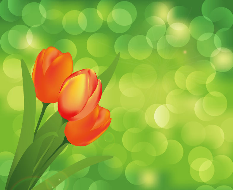 free vector Flower with Green Background Vector Art