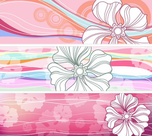 free vector Flowered Banners