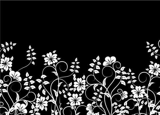 Flowers And Black And White Vector Free Vector 4vector
