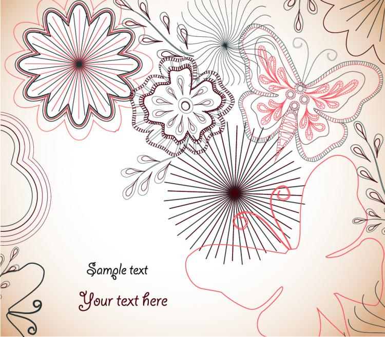 free vector Flowers and butterflies vector 20901