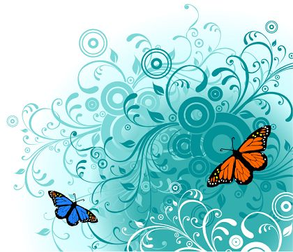 free vector Flowers and Butterfly Free Vector Graphics