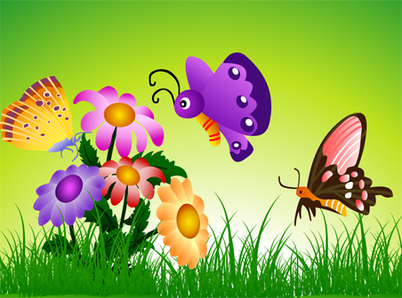 free vector Flowers and trees butterflies vector