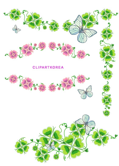 free vector Flowers, fruit and butterfly lace Vector material