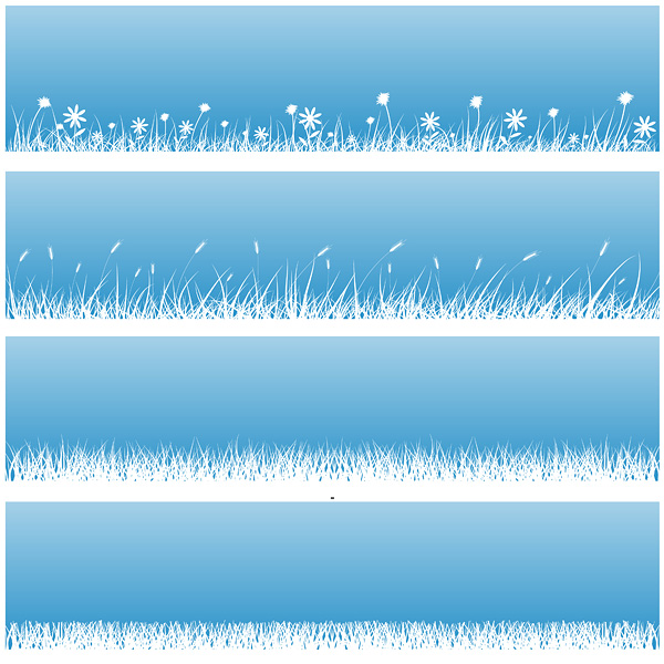 free vector Flowers grass silhouette vector