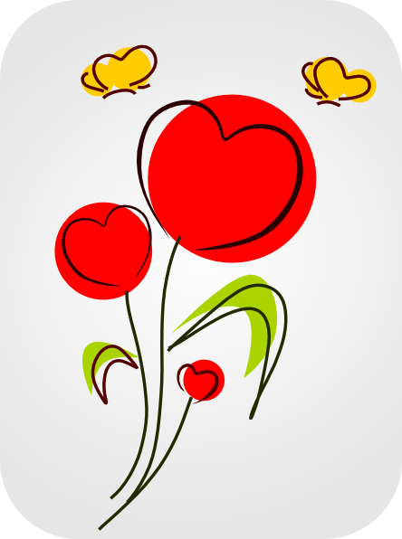 free vector Flowers With Hearts clip art