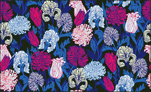 free vector Flurry of colorful flowers vector