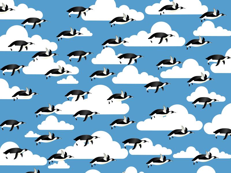 free vector Flying Penguins