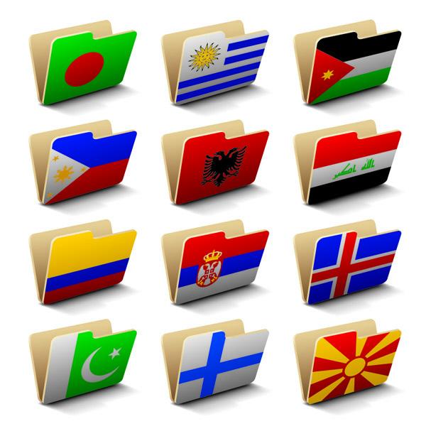 free vector Folder icon 60 national flag vector
