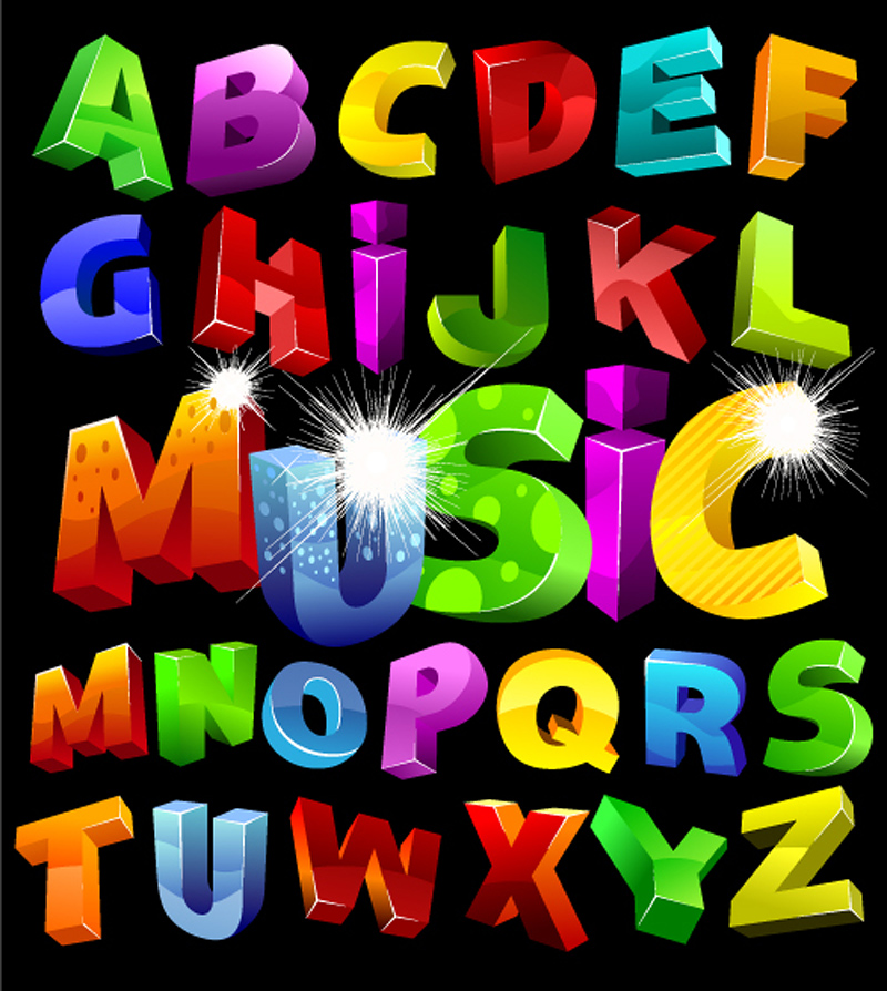 free vector Font design series 34 vector
