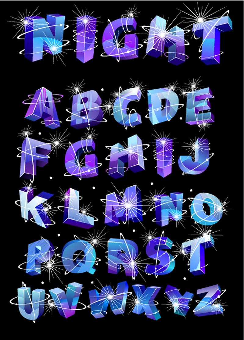 free vector Font design series 35 vector