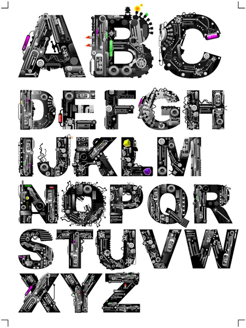 free vector Font design series 37 vector