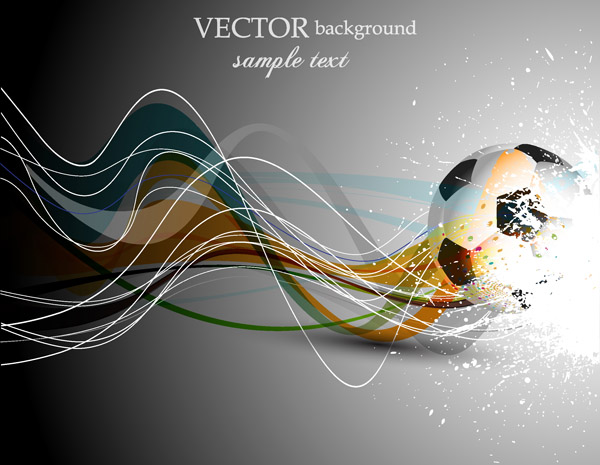 free vector Football and dynamic lines of the vector