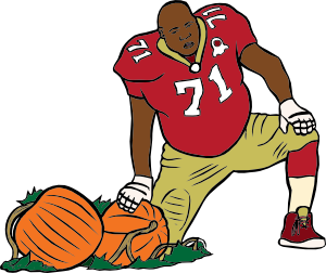 free vector Football Player With Pumpkin clip art
