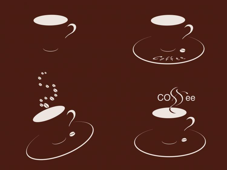 free vector Four cups of coffee silhouette vector