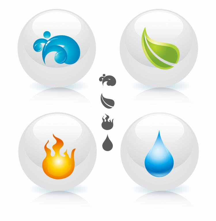 free vector Four elements of nature