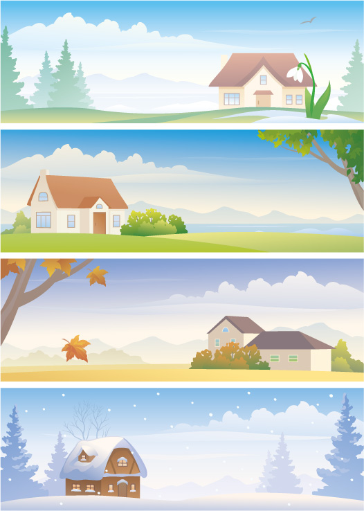 free vector Four seasons scenery vector