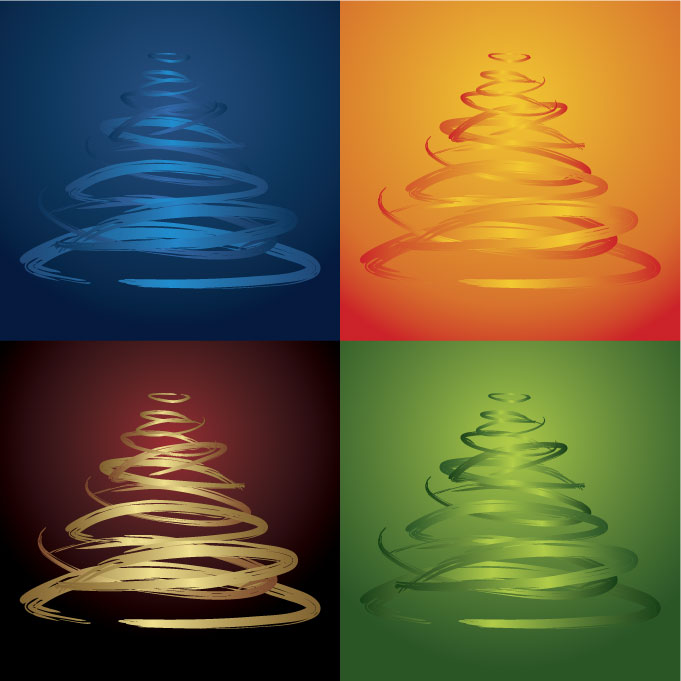 free vector Fourcolor christmas tree vector