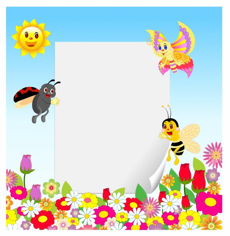 free vector Frame with insect and flower