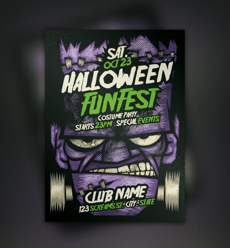 free vector Franky Halloween Flyer Template