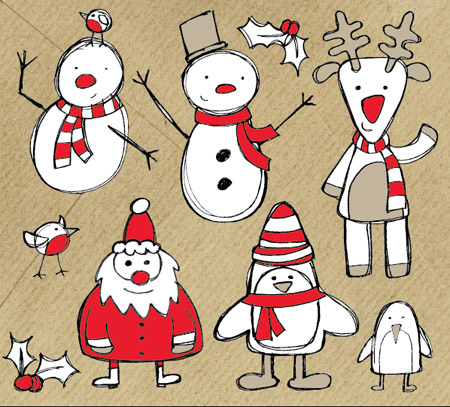 free vector Free Christmas Themed Sketchy Vector Graphics Pack