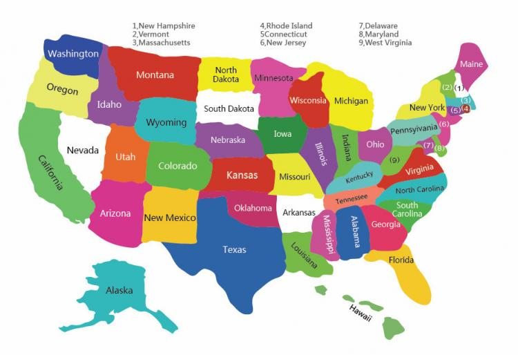 free vector Free Colorful USA Map With States Vector