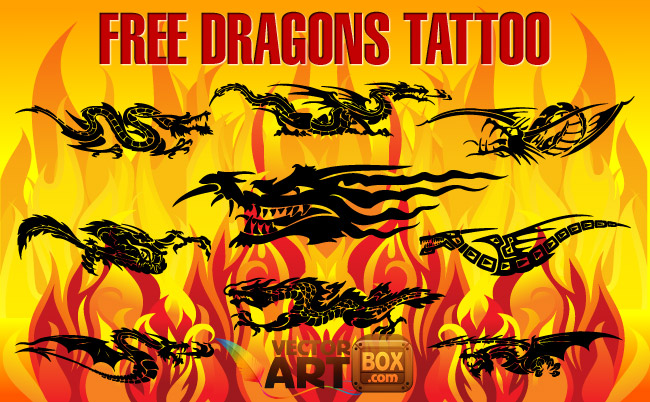 free vector Free Dragons Tattoo