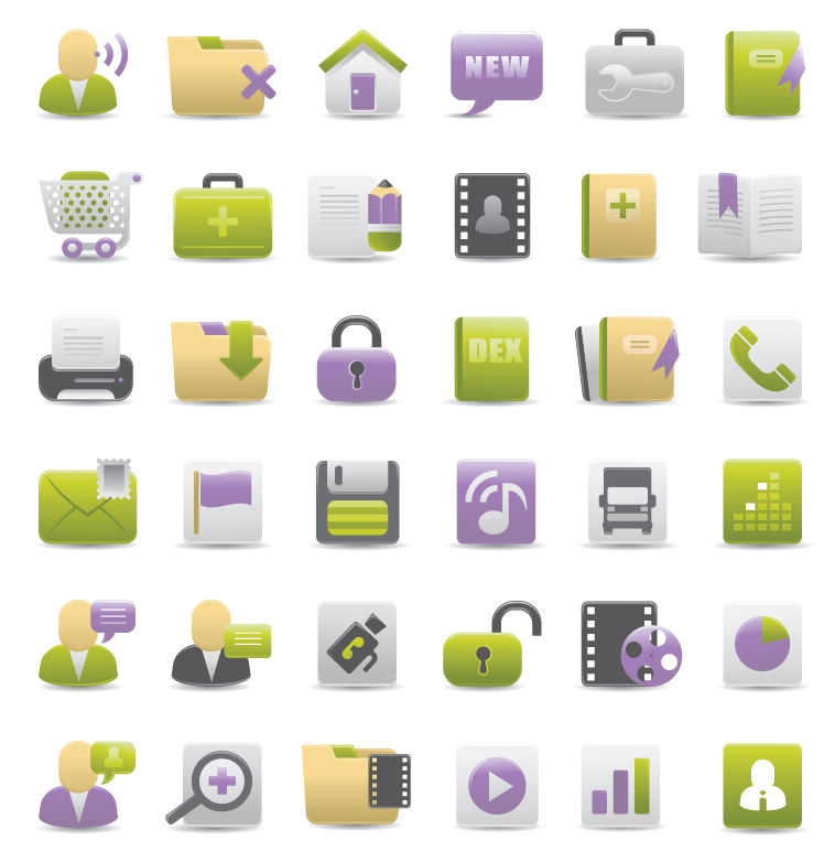 free vector Free Gray Green and Purple Web Design Vector Icons