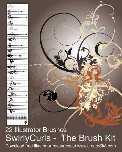 free vector Free illustrator swirly curls brush kit