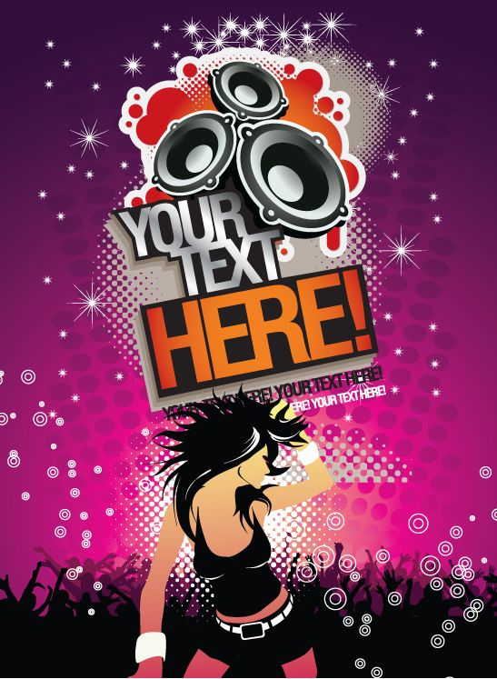 free vector Free Music Background Party Time Poster Vector