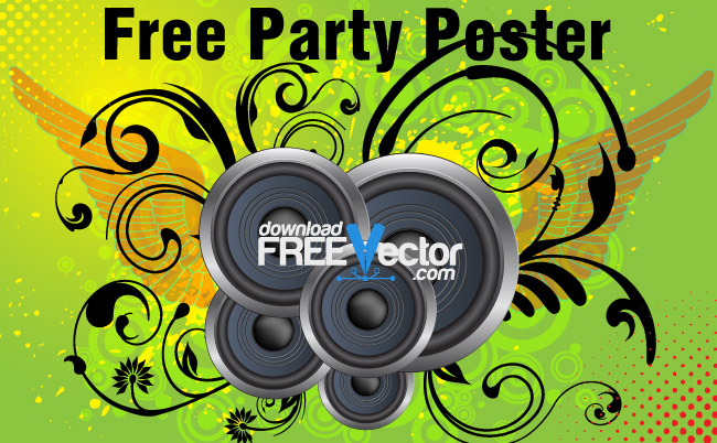 free vector Free Party Poster