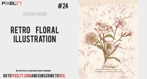 free vector Free Retro Floral Illustration