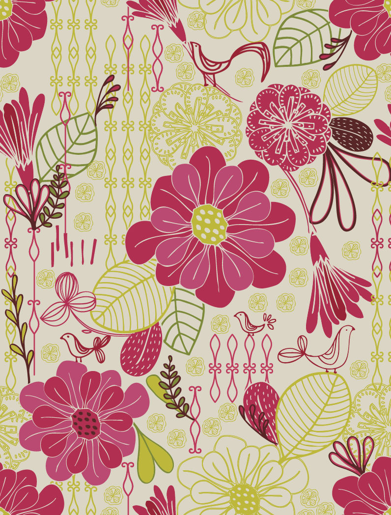 Free Retro Floral Pattern Seamless Background Vector Free ...
