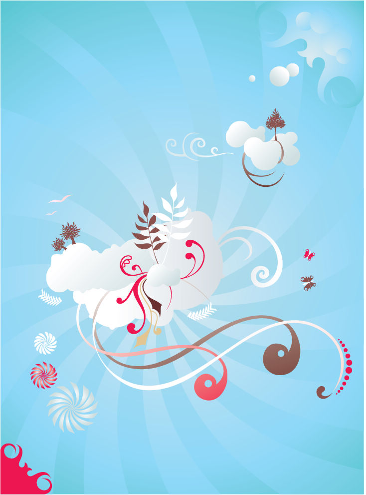 free vector Free Scrolls and Clouds Vector Graphic
