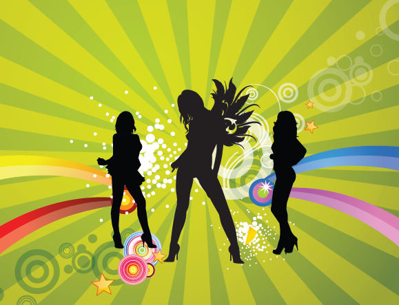 free vector Free Silhouettes of Dancing Girls with Abstract Background Vector Illustration