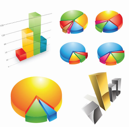 free vector Free Three-dimensional Charts Vector Graphic