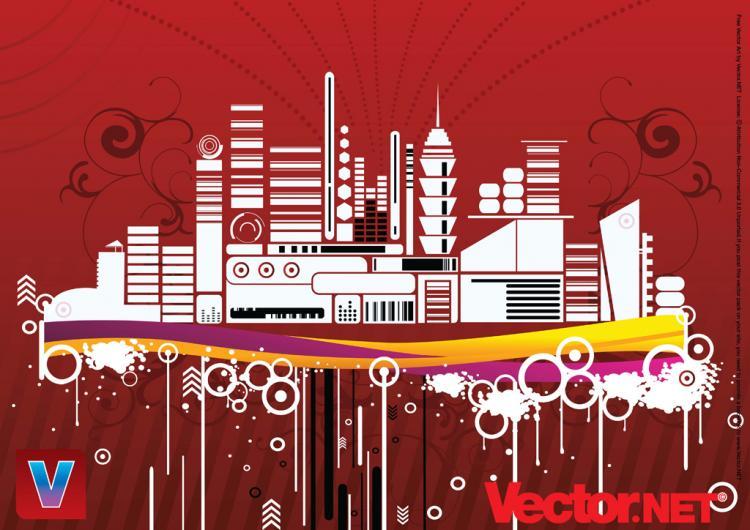 free vector Free Urban City Vector Illustration