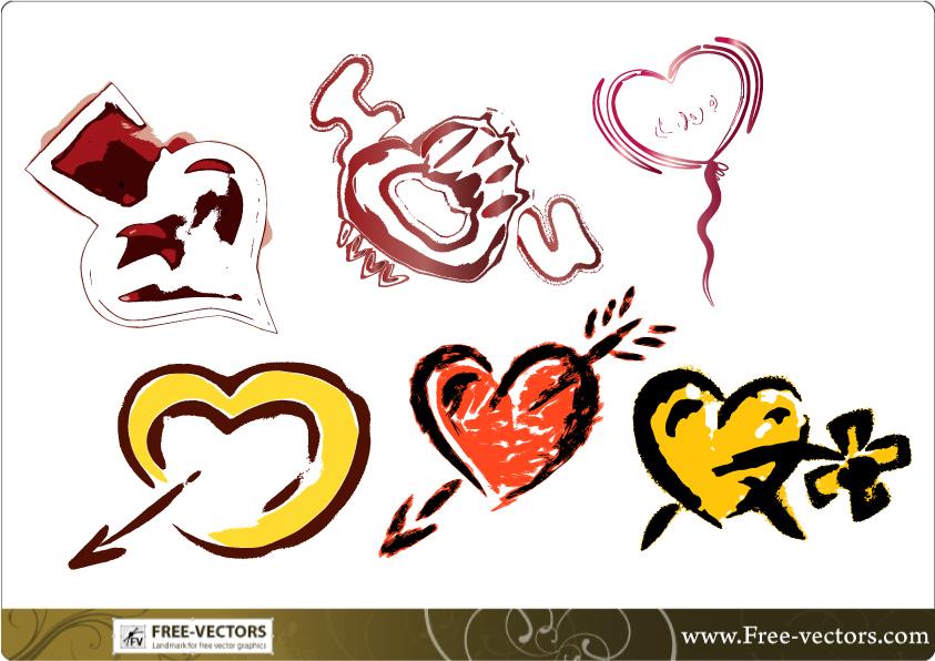 free vector Free Valentine's Love Heart Vector Set-1