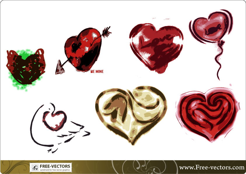 free vector Free Valentine's Love Heart Vector Set-2