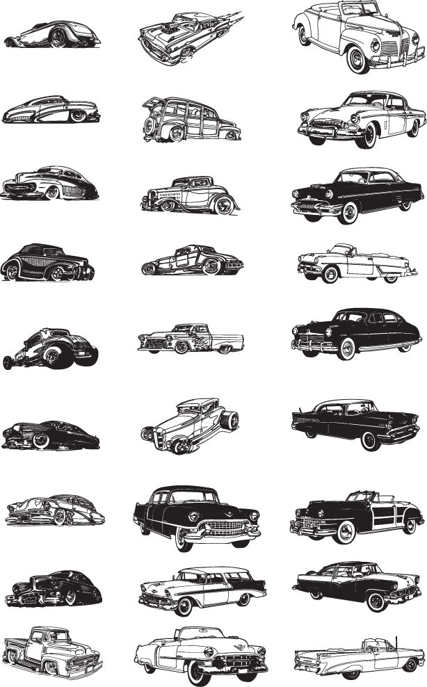 free vector Free Various Vintage Car Vector Collection