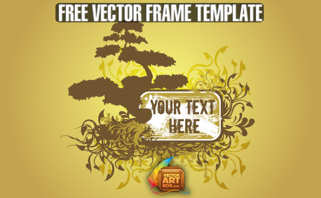 free vector Free Vector Floral Tree Frame Template