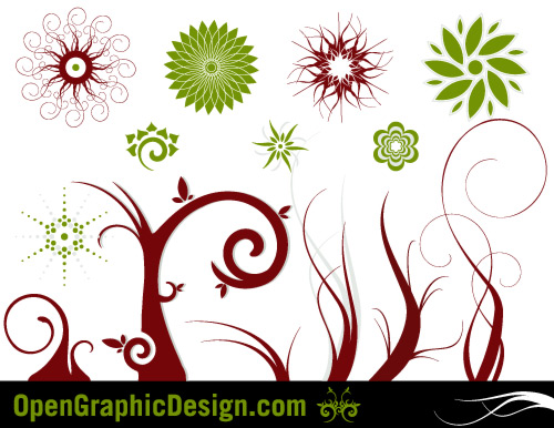 free vector Free Vector Flowers and Swirls